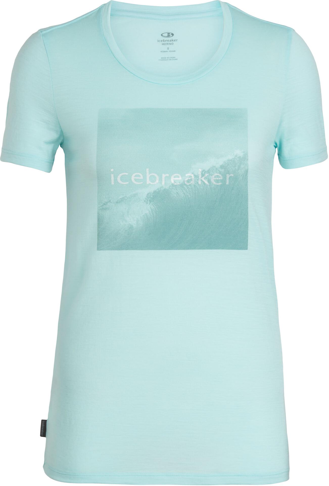 Icebreaker Tech Lite Cadence Pulse SS Low Crewe Top Women, wavelogoaqua splash